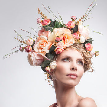 SS15 Floral Crown in Coral and Pink - Pale Orange Roses Hair Accessories Flowers Pinks Headpiece Wedding Bridal Garden Summer Wreath