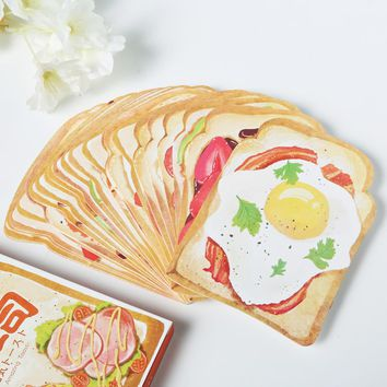 30pcs/box cute toast kawaii diy memo pad  post paper message gift card school supply bookmark