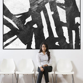 Modern wall art, extra large wall art, large abstract painting on canvas, black and white wall art, large wall art acrylic painting