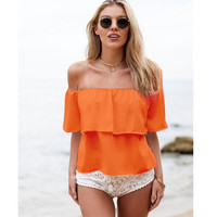'The Laila' Off Shoulder Ruffled Chiffon Top