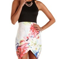 Floral Color Block Asymmetrical Dress
