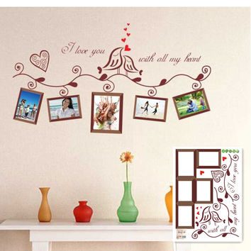 Cartoon Lover Birds Wall Sticker Decor Mural Home Decal Removable Photo Frame SM6