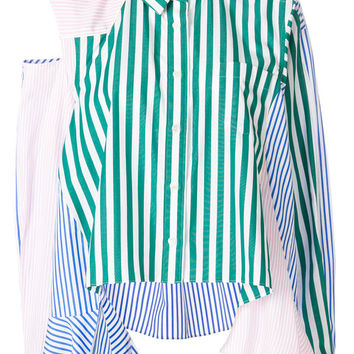 Sacai Asymmetric Striped Flared Shirt - Farfetch