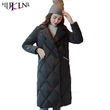 HIJKLNL 2017 Long Down Jacket Women Winter Down Coats Plus Size Thick Ladies Warm Outwear Slim Parkas Casacos Femininos HB410