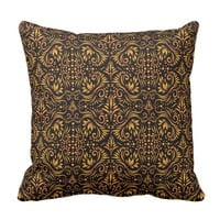 Elegant Black And Gold Decorative Pattern Throw Pillow