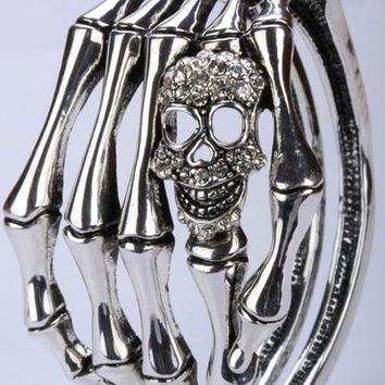 SHIPS FROM USA Skull skeleton hand bone bracelet bangle biker gothic jewelry gifts for women antique silver plated D08