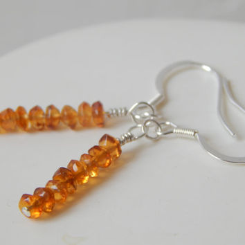 Citrine Drop Earrings in Sterling Silver with Stud or Hook Backs