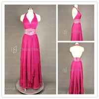 Formal Dresses Australia — Halter Chiffon Fuchsia Crystal Formal Dresses at Edressestore.com.au