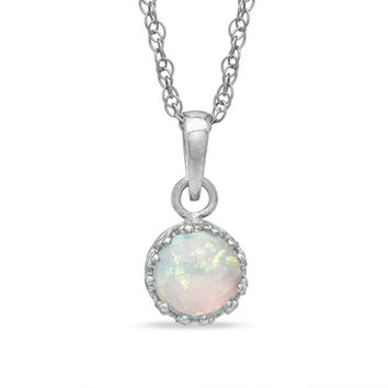 6.0mm Lab-Created Opal Crown Pendant in Sterling Silver