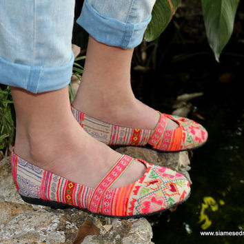 Ethnic Hmong Embroidered and Batik Womens Ballet Flats Shoes