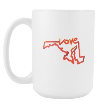 Love Maryland State Flag Map Outline 15oz Mug