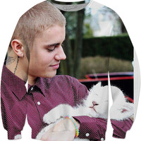Justin Bieber With A Baby Animal Sweater
