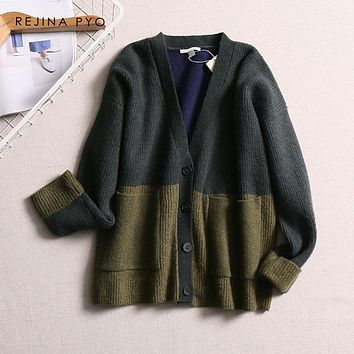 REJINAPYO European Style Women Chic Wool Blends Contrast Color Oversized Knitted V-neck Cardigans Sweater 2019 Spring New Arrive