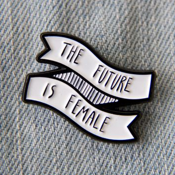 "Feminist ""The Future Is Female"" Black and White Enamel Pin"