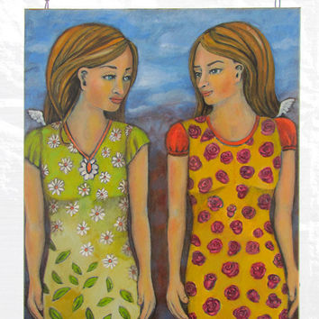 Oil Painting Contemporary Folk Art Painting of by RenaissanceDays