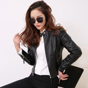 Womens Style O Neck Collar Pu Leather Fashion Motorcycle Leather Slim PU Locomotive Jacket