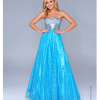 Nina Canacci 2014 Prom Dresses - Turquoise Satin & Sequined Chiffon Ball Gown