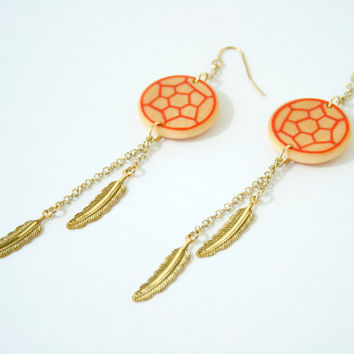 Wooden Hand-Painted Dreamcatcher Dangle Earrings in Red Orange