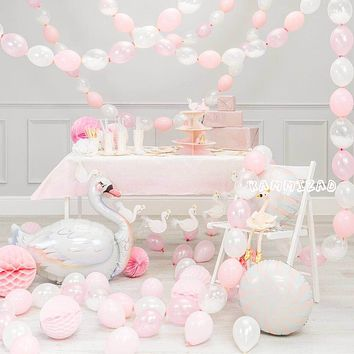 large white swan balloon happy Birthday Party Decorations adult wedding pink love anniversaire supplies balloons