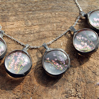 SET, complete with discount, for Bridesmaids, Medium Bohemian jewelry, Real dried heather, heath necklace, Terrarium necklace