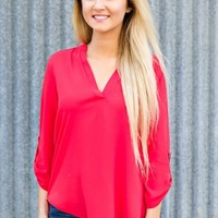 Lush: Take The Plunge Top- Cherry - NEW ARRIVALS