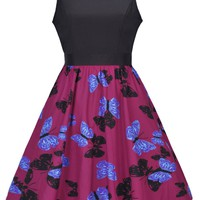Casual Butterfly Printed Round Neck Bowknot Skater Dress