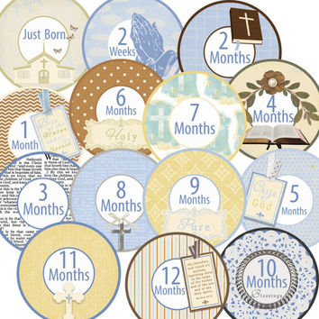 14 Baptism Religious Bible Church Holy Traditional Unisex Neutral Baby Monthly Milestone Onesuit Stickers Newborn Shower Gift