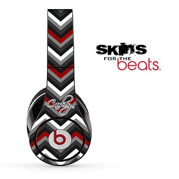 The Maroon-Black & White Chevron Pattern with Name Script Skin for the Beats by Dre Solo, Studio, Wireless, Pro or Mixr