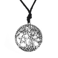 Tree of Life Yggdrasil Pentacle Pentagram Portugal Men Pendant Wicca Pagan Vintage Accessories Male Necklace Women Collar