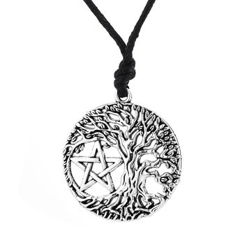 Tree of Life Yggdrasil Pentacle Pentagram Portugal Pendant Wiccan Pagan Jewelry Tibetan Male Pendant Necklace Collar