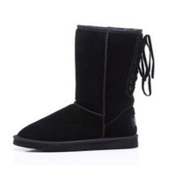 """UGG"" Women Fashion Wool Snow Boots lace up boots Black"