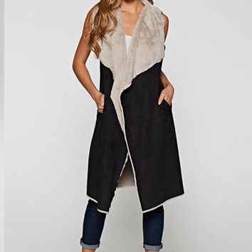 Bara Charcoal Suede Long Vest