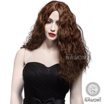 NAVIS Brown Synthetic Fiber Hair Side Bang Long Curly Wig Matt High-Temperature