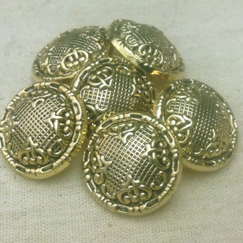 Victorian Style Antiqued Gold Shank Buttons - 6 Metalized Plastic Buttons