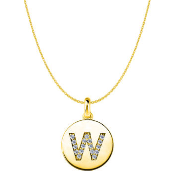 """W"" Diamond Initial 14K Yellow Gold Disk Pendant (0.17ct)"