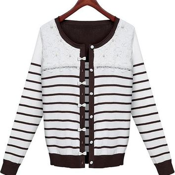 White Striped Patchwork Lace Beading Cardigan