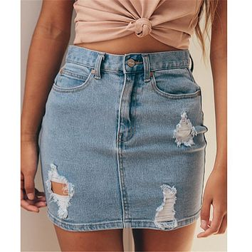Womens Denim High Waisted Bodycon Pencil Ripped Frayed Jeans Skirt Ladies New Pocket Button