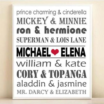 Famous Couples Mix-Up Personalized Subway Art, Names Typography Art Print: Custom 8x10 or 11x14 Poster