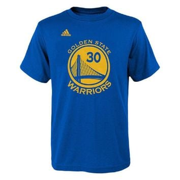 Stephen Curry #30 Royal Blue Golden State Warriors Name and Number T-Shirt