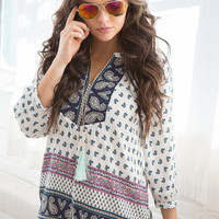 3/4 Sleeve Paisley Print Peasant Blouse - Navy Multi