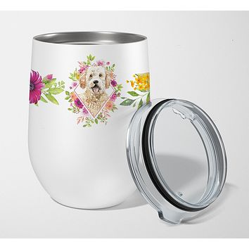 Goldendoodle Pink Flowers Stainless Steel 12 oz Stemless Wine Glass CK4236TBL12