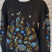 NEW Drew Anthropologie Sweatshirt Sweater Size XS Black Embroidered Flowers NWT