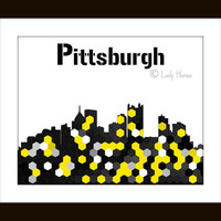 Pittsburgh Skyline Art Poster, Black and yellow decor, Pittsburgh art, black and gold hexagon geometric art, home decor wall art, dorm decor