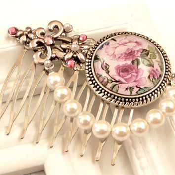 Romantic Hair Comb with roses and shell pearls, bridal hair accessories, hair comb festive, flower hair accessories, gift for her, pink