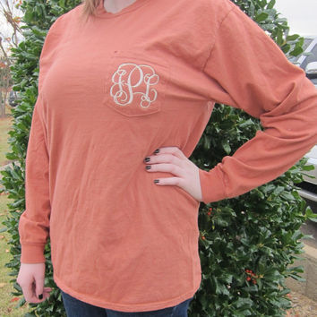Long Sleeve Pocket Comfort Color Monogrammed T-Shirts-  Great for Bridesmaids, Teens, Graduation, Best Friends, Greek, and Birthday Gifts