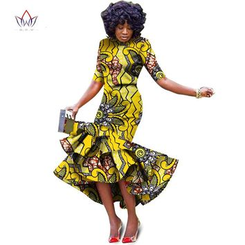 Plus Size 2018 New African Dresses for Women Dashiki Elegant Slim Africa Clothes Bazin Riche Sheath Pleated Party Dress WY1027-Multiple Colors