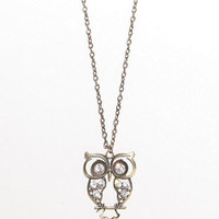 With Love From CA Long Rhinestone Owl Necklace at PacSun.com