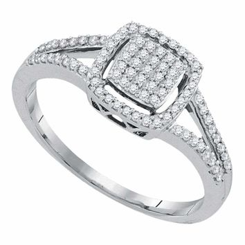 10kt White Gold Women's Round Diamond Square Frame Cluster Split-shank Ring 1-4 Cttw - FREE Shipping (USA/CAN)