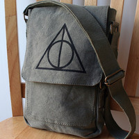 Olive Drab Deathly Hallows Canvas Tech Bag by catbirdcreatures