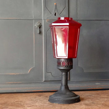 Vintage Brass Glass Lantern, Red, Black, Candleholder, Home Decor, Lighting, Salvaged